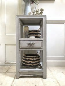 Vintage Rustic Grey Painted French Eastern Shelving Unit Hall Bathroom
